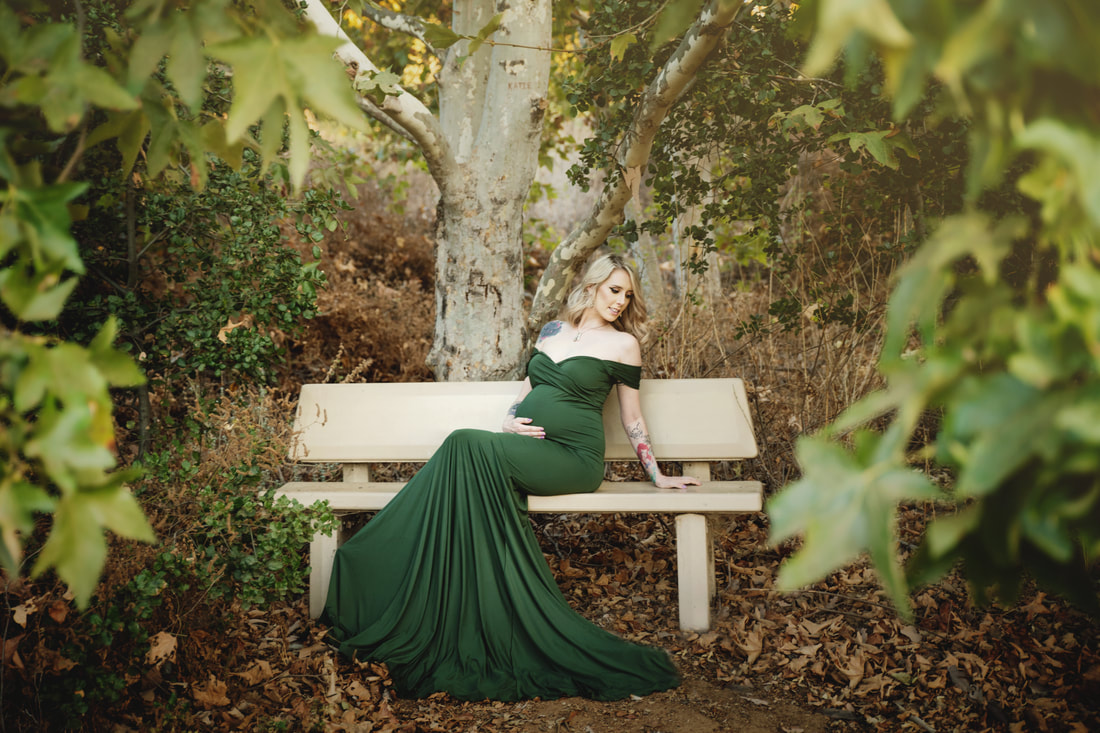 Pregnant Mama Lounging on Bench in Chicaboo Gown